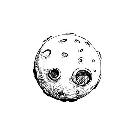 Full moon with craters hand drawn vector illustration hand draw isolated with white.