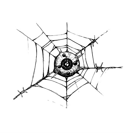 eyeball is attached to the spider web and barbed hook. illustration vector. hand drawing. black and white tattoo style. symbol for painful torment suffering and warp of mind. spider eye. human eye.