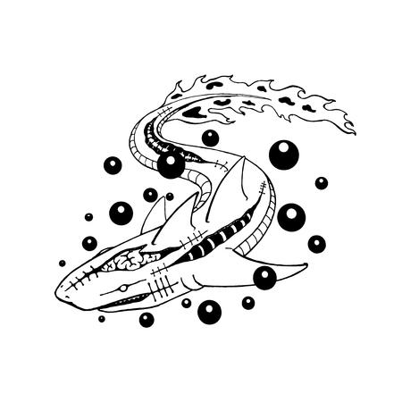 shark mutate to zombie. line art drawing. vector illustration. tattoo design. scary animal mutat