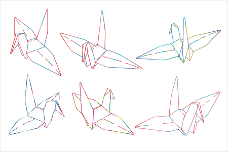 Bird Origami Paper Simple Line Illustration Vector Tattoo Design