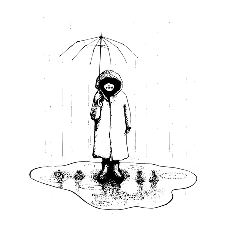 girl stand alone in the rain with umbrella. vector illustration hand drawing. line art and symbolic. family mistake. tattoo design. ink work.