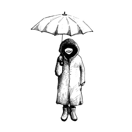Girl standing alone in the rain with umbrella.