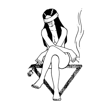 Sad girl sit down on triangle symbol. Right hand with cigarette. left hand rose flower holder. and blindfold.
