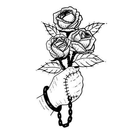 Hand with chain, holding rose in sketched illustration.