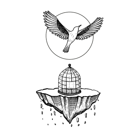 Bird flying from cage, home collapses in hand drawn illustration. Illustration