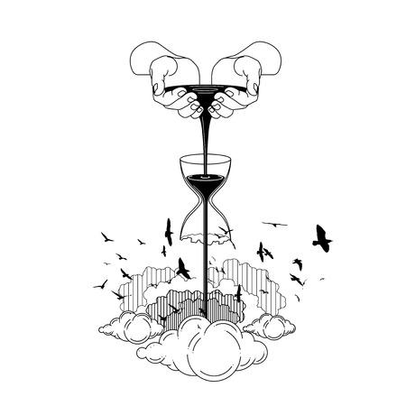 scoop up black water sand with hands. bird silhouette. line art vector illustration.