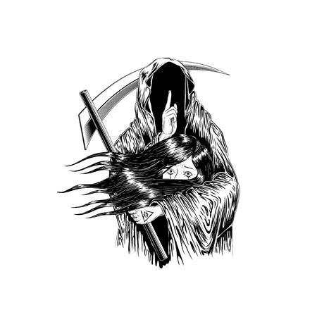 Sensenmann, menschlicher Schädel, der eine Haube trägt, lokalisiert auf Farbhintergrund, Vektorillustration. Frau halten mit dem Geist. Tattoo Design. Handzeichnung und digital. Strichzeichnungen Design.