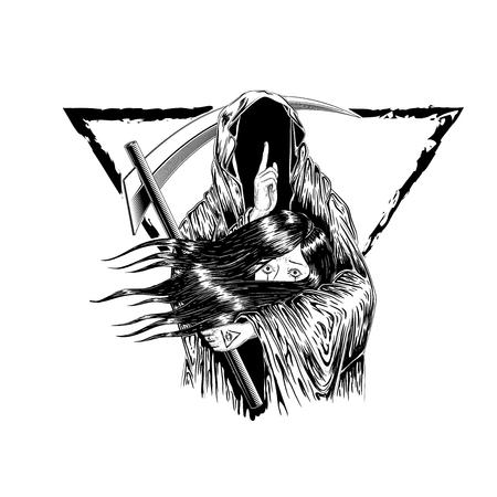 Grim Reaper, umano che indossa un cappuccio, isolato su sfondo di colore, illustrazione vettoriale. donna tenere con il fantasma. morire. disegno del tatuaggio. disegno a mano e digitale. linea arte design. bordo del triangolo. Vettoriali