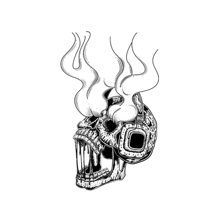 Skull with headphones. Vector illustration of a skull listening to the music. Skeleton wearing headphones front view. tattoo design. line art hand draw. for poster sticker and card. life is not to die. come to wake up.