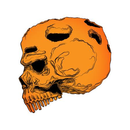 Anatomisch korrekter menschlicher Schädel isoliert. Handgezeichnete Linie Kunst-Vektor-Illustration. Tattoo-Design. Leben und tot. Aufkleber-Vorlage.