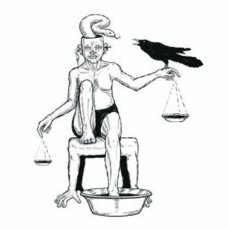human figure hang on libra sit on the chair and put on the foot in water pot. snake come out from head and hand hold a black raven. hand draw illustrator vector. tattoo design. black and white art.