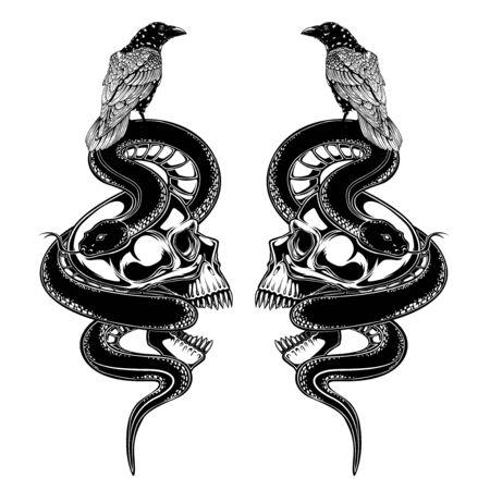 Ilustración de vector de cráneo cuervo cuervo y serpiente. diseño de tatuaje. entintado trabajo negro. dibujar a mano. para camiseta, tarjeta, logotipo y papel tapiz.