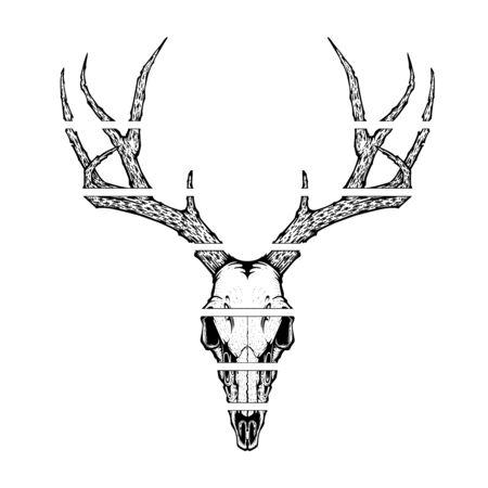illustration vectorielle de crâne de cerf pour le tatouage, l'impression sur des t-shirts, des affiches et d'autres articles. dessin de squelette d'animal. conception de symbole de tatouage de la faune.