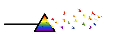 Flying birds silhouettes with spectrum color prism triangle on white background. Vector illustration. isolated bird flying. tattoo and wallpaper background design. Ilustração