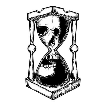 Decorative antique death hourglass illustration with skull. Hand drawn tarot card. Sketch for dotwork tattoo, hipster t-shirt design, vintage style posters. tattoo design vector.