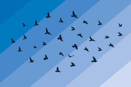 Flying birds silhouettes on white background. Vector illustration. isolated bird flying. tattoo and wallpaper background design.