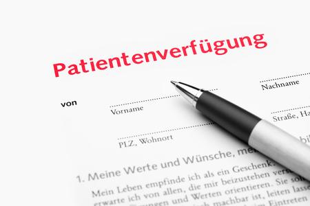 Patientenverfügung Deutsch