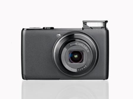 megapixel: digital camera isolated on white background Stock Photo