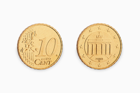 ten euro coin cent isolated on white background Standard-Bild
