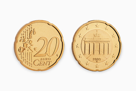 cent: twenty euro coin cent isolated on white background
