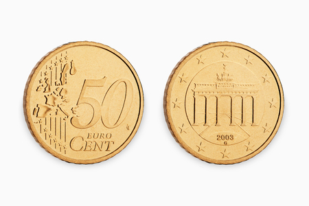 fifty euro coin cent isolated on white background