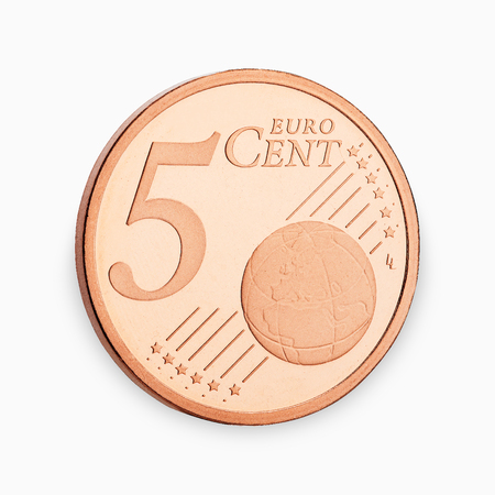 counted: five euro coin cent isolated on white background