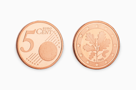five euro coin cent isolated on white background