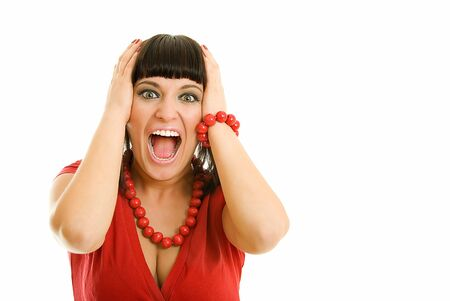 young woman is in shock on white Stock Photo - 3928387
