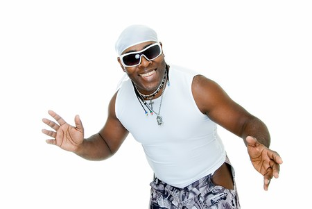 sympathetic black man smiling on white background