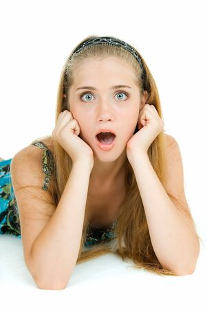terribly: girl with opened mouth from terribly Stock Photo