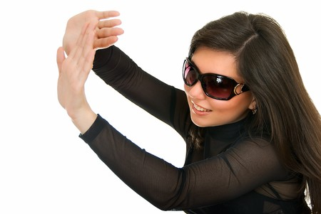 young adult pretty girl in sun glasses on white photo