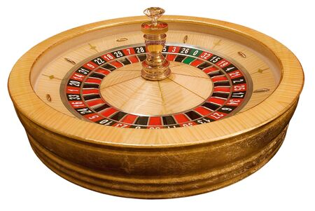 gold roulette wheel on white background