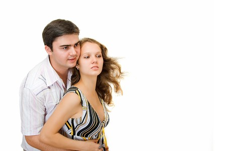 young couple looks into the distance together Stock Photo - 4022103