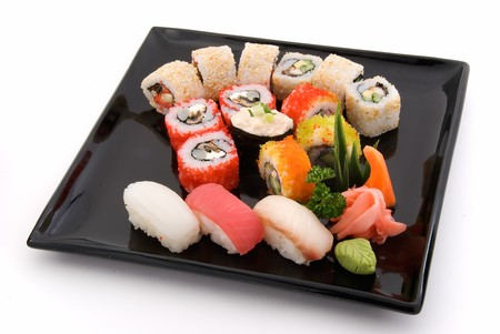 made dish of rolls and sushi Stock Photo