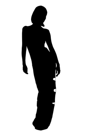 silhouette of woman in evening dress  Stock Photo