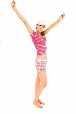 sexual activities: young woman in summer clothes on white background of studio