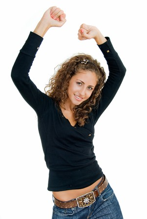 rejoices: adult pretty smiling girl rejoices with hands up
