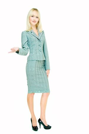 conducts: young pretty businesswoman conducts presentation on white background