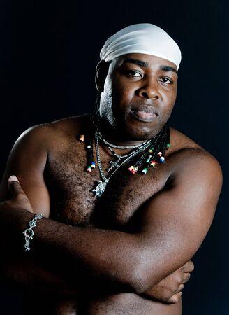 Retrato de hombre negro cubano desnudo hasta la cintura Foto de archivo - 4316347