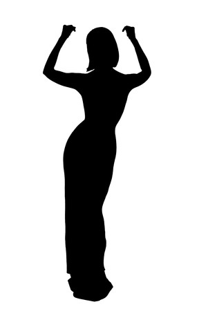 silhouette of woman in evening dress isolated  photo