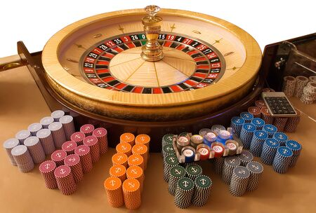 pokers: gold roulette wheel with other accessories  for roulette game
