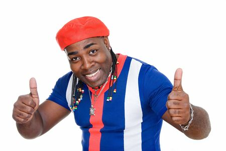 cuban black man showing sign okay on white Stock Photo - 4512024