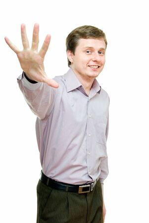 young handsome man shows five fingers on hand photo