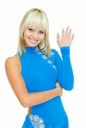 young beauty girl greets somebody on white background