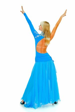 charming beauty girl in dance pose on white Stock Photo - 4653035