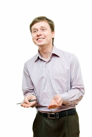 young businessman explains something with smile photo