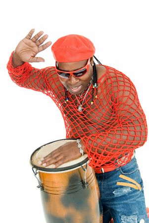 percussionist: young handsome cuban man plays on percussion