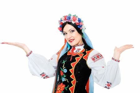 young smiling ukrainian woman holds palms up  photo