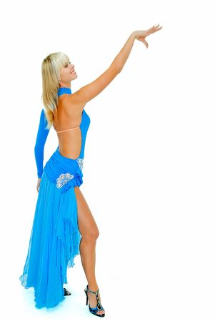 charming beauty girl in dance pose on white