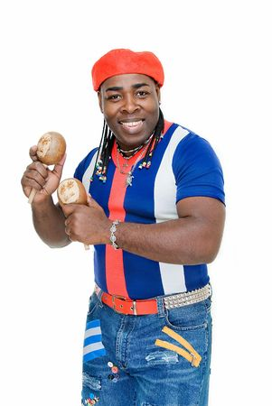 percussionist: black cuban man plays on maracas on white